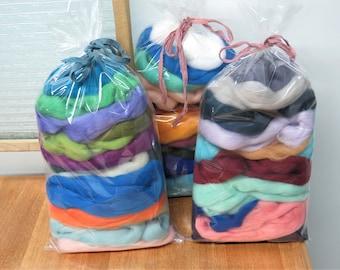 Felters Palette Merino Wool Roving Kit - 15-18 mix colors Superfine 19-21 micron Wool Fiber Assortment, 6oz (170g) total.