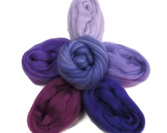 Felters Palette Merino Wool Roving Kit- 5 Purples Colors Superfine Wool Fibers Assortment (blended roving optional)