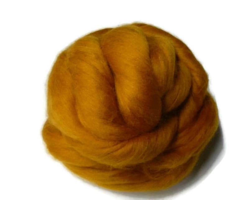 Superfine merino wool roving 19 microns Saffron 4oz colour