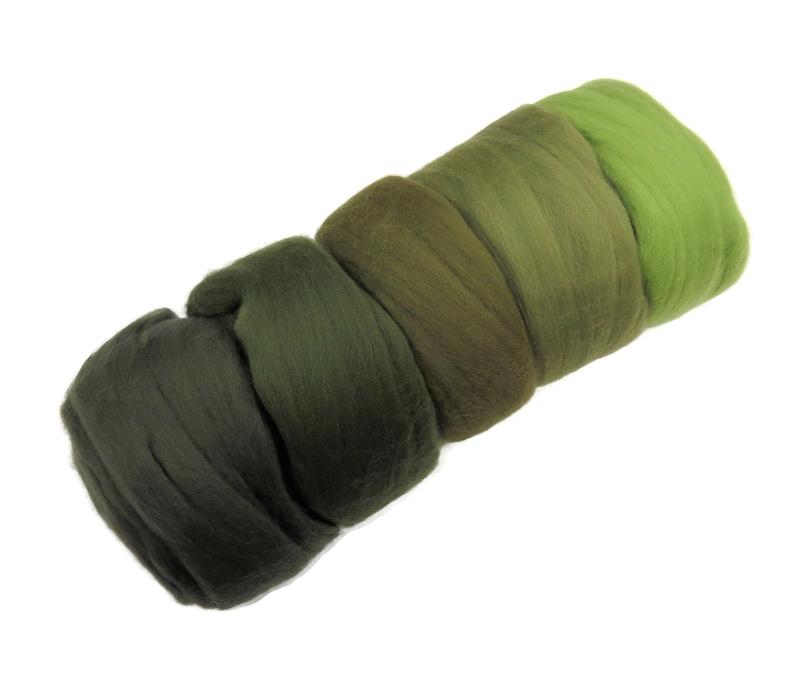 Felters Palette Merino Wool Roving Kit 5 Green Colors Superfine Wool Fibers Assortment cactus green color