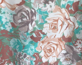 Scandinavian vintage fabric Green pink floral print 60s swedish retro fabric Mod pattern Dress fabric Roses fabric Sewing Soft pastel colors
