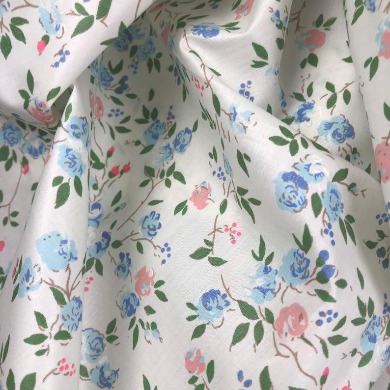 70s vintage fabric Swedish Mod retro pattern Floral print Yellow pink Scandinavian design Hippie Flower power unused