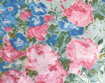 70s vintage fabric Mod floral print rose fabric pastel colors  Cotton satin flower power fabric English design rose fabric  Sewing Craft