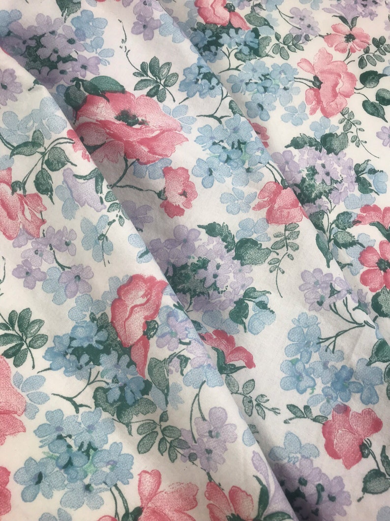 70s vintage fabric Roses fabric Swedish textile Mod retro pattern Romantic Pink and blue Floral print sewing Scandinavian design Hippie