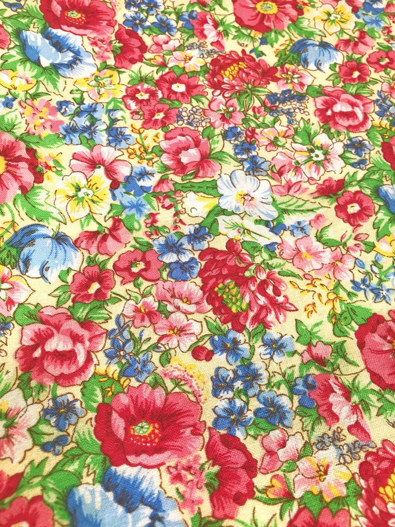 70s scandinavian vintage fabric Mod floral print Retro fabric Cotton mid century modern Made in Sweden flower power
