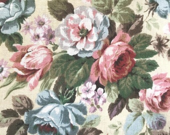 English vintage fabric Sanderson roses country chic. Floral print Pastel colors, floral British retro pattern. mid century modern upholstery