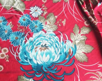1970s Swedish retro fabric Mod floral print Red blue jersey fabric Scandinavian design Vintage fabric flower power sewing hippie