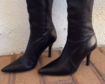 a3ac0f8638 Ladies Size 6 Banana Republic Classic Black Leather Pointed Toe Tall  Leather Boots, Zip Up Backs, Tight Fitted, Mid Heel, Made in Italy