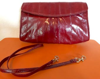 52dfed23cd5a Vintage 80 s Maroon Eel Skin Clutch Purse w  Removeable Shoulder Strap