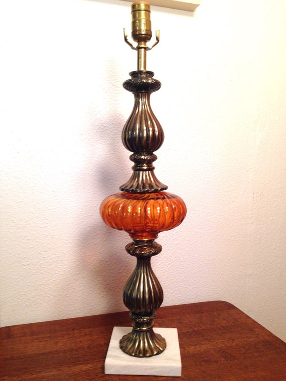 Murano Like Brass Amber Glass Ball Table Lamp W White Marble Base Vintage Regency Style Lamp Ca 1970 S 80 S Very Nice