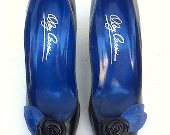Reserved for Karla.  No other buyers, thanks!  Vintage 1980's Designer OLEG CASSINI HEELS - Black & Cobalt Blue Leather Pumps with Black Ros