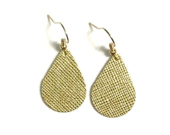 Gold Leather Earrings / Statement Earrings / Teardrop Earrings / Small / Lightweight / Leather Jewelry / Ready to Ship!!