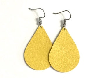 Yellow Leather Earrings / Teardrop Earrings / Medium / Statement Earrings / Lightweight / Leather Jewelry / Ready to Ship!!