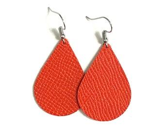 Orange Leather Earrings / Teardrop Earrings / Medium / Statement Earrings / Lightweight / Leather Jewelry / Ready to Ship!!