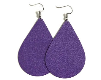 Purple Leather Earrings / Teardrop Earrings / Statement Earrings / Lightweight / Leather Jewelry / Large / Ready to Ship!!