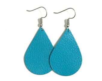 Turquoise Leather Earrings / Teardrop Earrings / Statement Earrings / Lightweight / Leather Jewelry / Medium / Ready to Ship!!