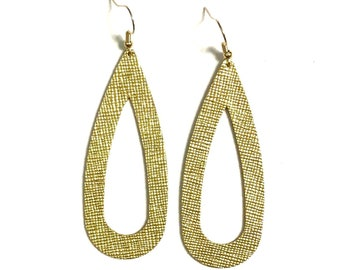 Gold Leather Earrings / Cut Out Teardrop Earrings / Statement Earrings / Lightweight / Leather Jewelry / Large / Ready to Ship!!