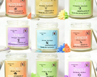 Zodiac Candle, Horoscope Candles, Star Sign Gift, Funny, Rude, Novelty Birthday Candle