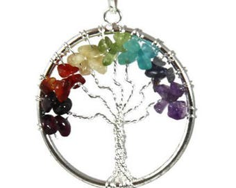 Chakra Necklace | Tree of Life Necklace | Chakra Pendant | Crystal Necklace | Gemstones | Bohemian | Rainbow Necklace | Gift for Her