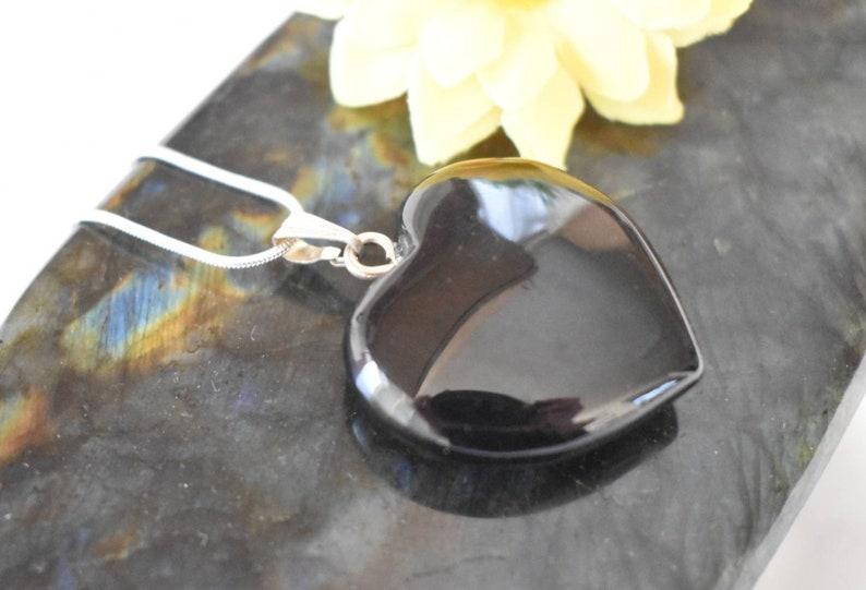 Black Obsidian Heart Pendant Obsidian Necklace Polished image 0