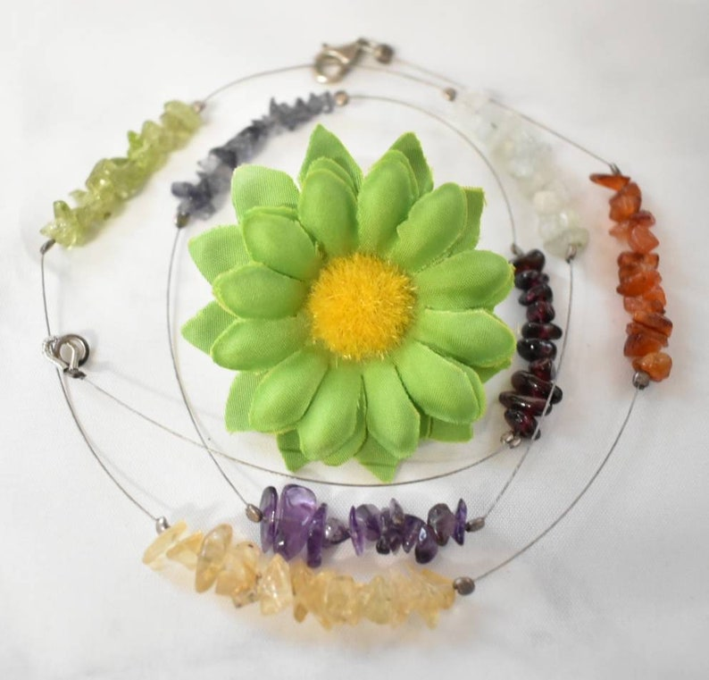 Chakra Wire Necklace Crystal Chip Necklace image 0