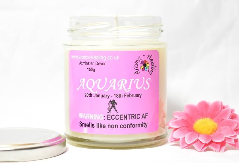Aquarius Candle Birthday Candle Funny Aquarius Candle Gift image 0