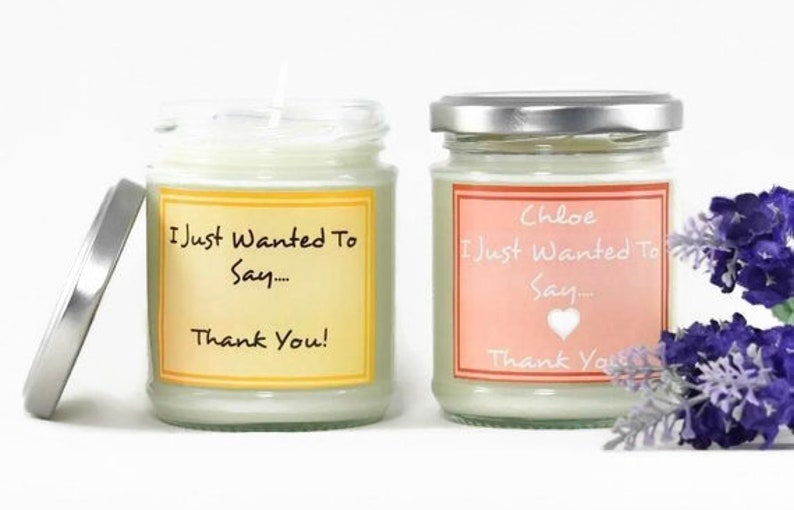 Personalised Thank You...  Scented Soy Candle  Aromatherapy image 0