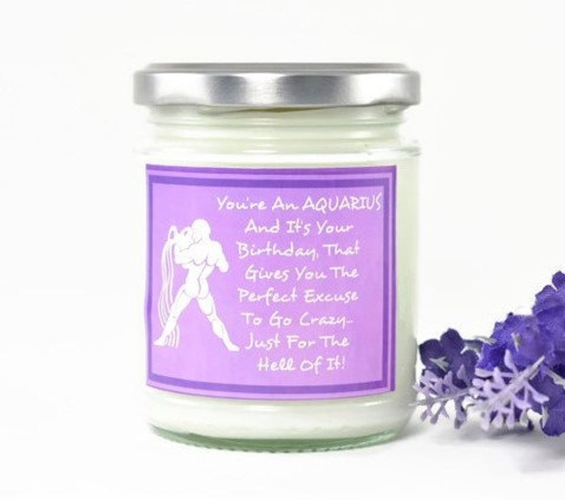 Aquarius Candle...  Zodiac Gift  Birthday Gift  Friend Gift image 0