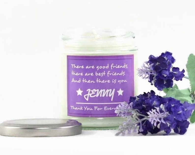Personalised Candle Thank You Gift Natural Soy Essential image 0