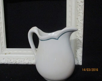 """Charming White Ironstone Pitcher, Blue/Green trim it out, 6"""" tall, No chips or cracks, Lovely Addition."""