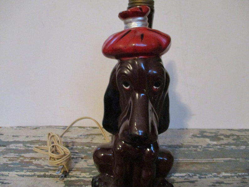 Basset Hound with Hangover Bar Light Enesco Red Ware Japan Dog with Ice Pack on it/'s head,