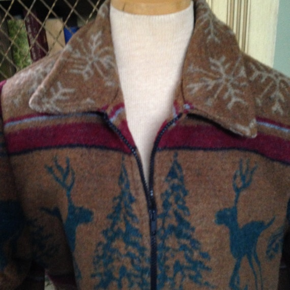 Vintage 80s Southwest Blanket Jacket Coat Bohemian