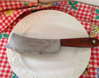 Meat Cutting Knife Wood Handle Butcher Knife This Knife has Foreign Lettering and Rising Sun Marks