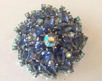 Beautiful Sapphire Blue Prong Set Rhinestone Layered Three Dimensional Brooch Pin