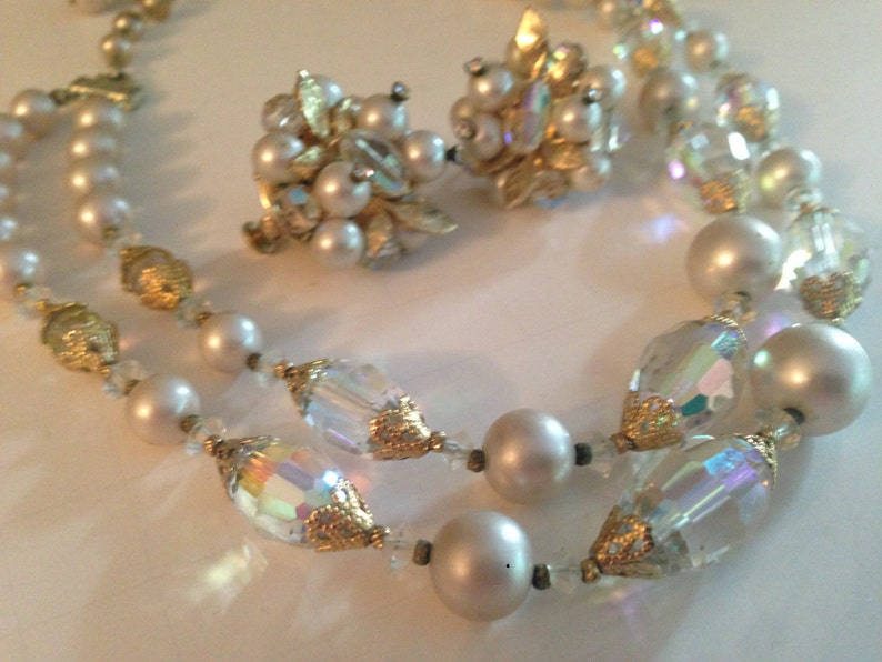 Beautiful Vendome Crystal and Faux Pearl Necklace and Earring Set Signed Vendome Demi Parure