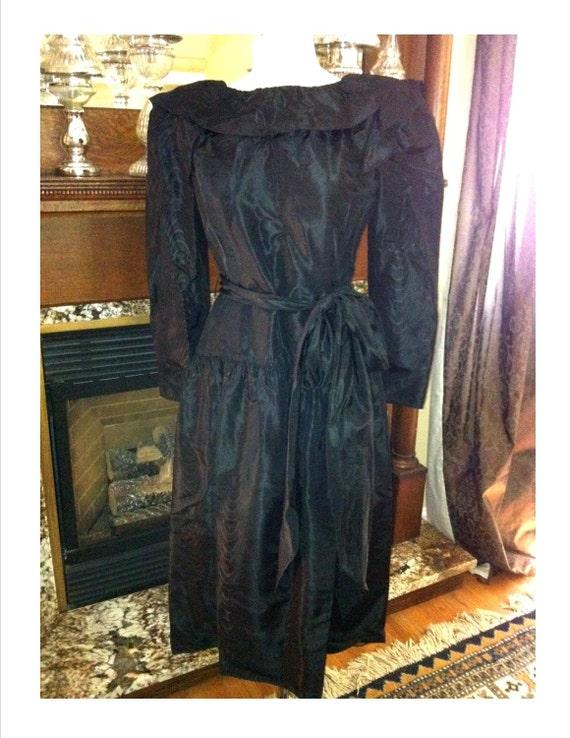 Vintage 1980s Halston Designer Black Dress Fabulo… - image 2