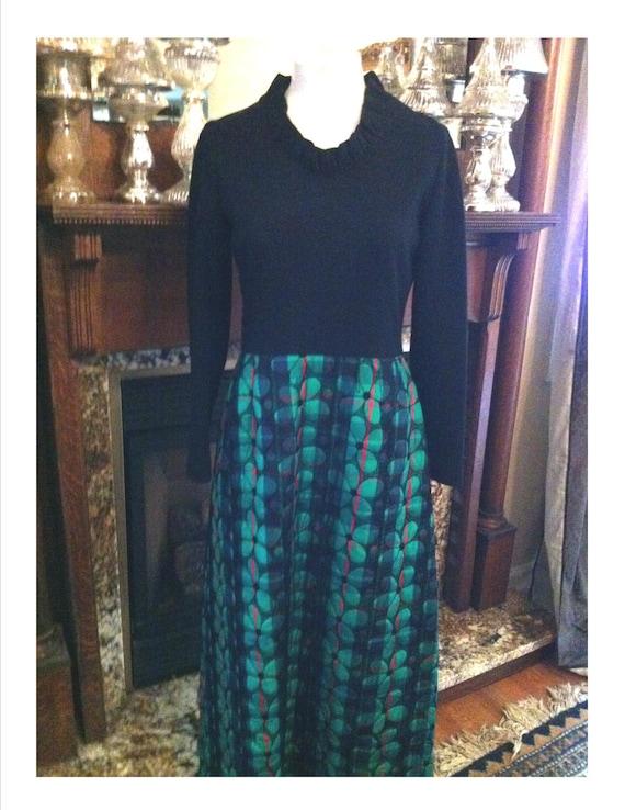 Plur Vintage Black Maxi Dress Stretch Knit Fitted… - image 4
