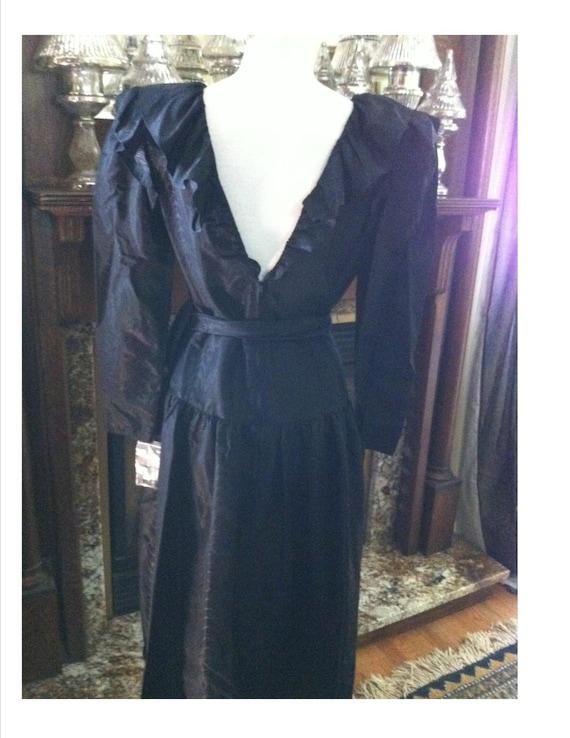 Vintage 1980s Halston Designer Black Dress Fabulo… - image 1