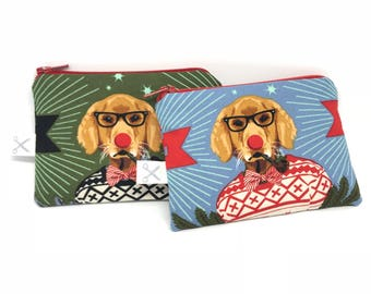 Mini zipper pouch Holiday Homies Dog