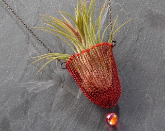 Air plant necklace, Air plant holder, Wearable Planter, Beaded Necklace, Boho Jewelry, Living jewelry, Unique jewelry for women, 0090