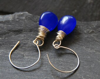 Bridesmaid earrings, Jade earrings, Hoop earrings, Silver earrings, Cobalt blue teardrop, Wire wrapped jewelry, Personalized gift, 1153-3