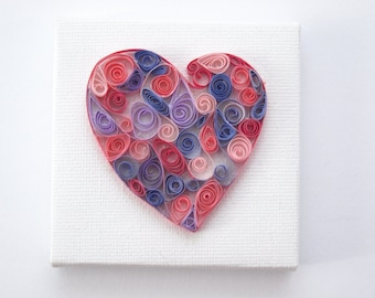 quilled pink and purple heart