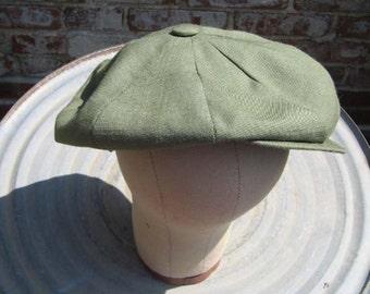 Olive linen cap
