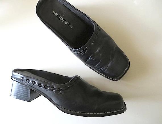 90s Vintage Shoes / Black Leather Shoes / Minimali