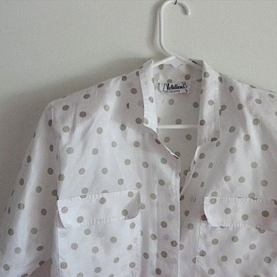 80s Vintage Blouse / Grey White Polka Dot Shirt /
