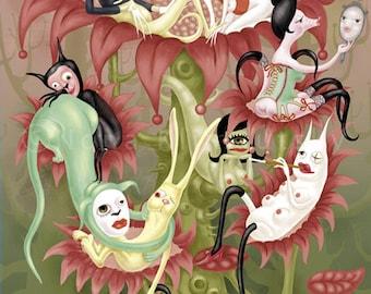 Giclee Digital  Art Print.  Lowbrow pop surrealism.The five senses.Erotic fetishism. Animals
