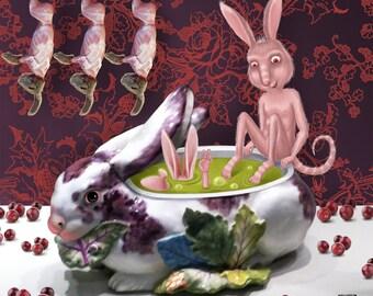 RABBIT SOUP  Lowbrow pop surrealism. Giclee on canvas. Digital  Art Print.