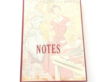 Notepad recipe holder, Retro notepad, Grocery list,  Scrapbook notebook holder, Handmade notedpad holder, Mothers day gift