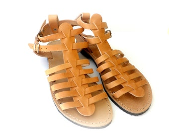 Ancient Greek leather sandals/ Gladiator sandals/Spartan sandals/ Summer shoes/ Genuine leather sandals/ Women summer flats/Beach shoes