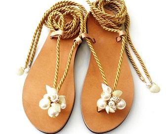 Sea shells pearls rope sandals / Σανδάλια με χρυσό κορδόνι πέρλες και κοχύλια